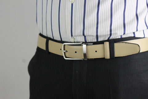 Beige men's leather belt 8