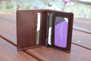 Men's Small & Slim Bifold Genuine Leather Wallet Coins Cards Bill Gift 9639