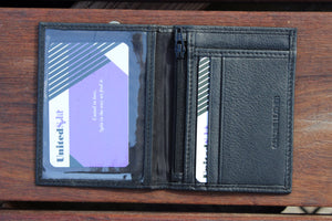 Genuine Leather ID Case Cards Window Coins Zipper 97088