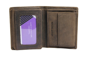 Men's Small Dark Brown Wallet Trifold Genuine Leather ID Cards Window Coins Pocket Money