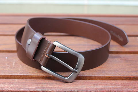 Men's High-Quality Brown Genuine Leather Belt 3.5 CM Brn-2076