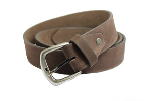 Men's Brown Suede Genuine Leather Belt High Quality Handmade 3.5 cm 1.4 inch 2400