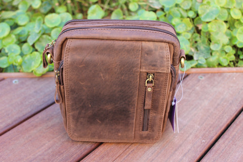 Men's Small Cross-Body Bag Black Brown Genuine Leather BL-9619