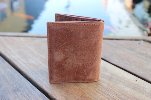 Men's Small Slim Bifold Genuine Leather Wallet Magnet 9640
