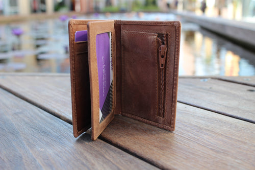 Small Slim High Quality Leather Trifold Wallet BL215 - United Split