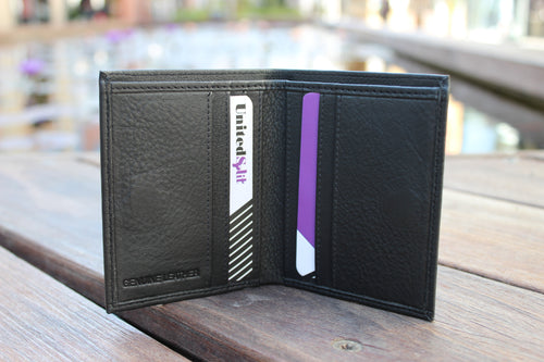 Men's Small Slim Genuine Leather Black Wallet Bifold Credit Card Non Coins 9649 - United Split