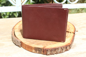 Personalized Brown Handmade Large Trifold full grain Leather wallet for men - United Split