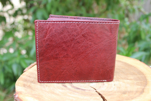 Personalized Brown Handmade Large Trifold full grain Leather wallet for men