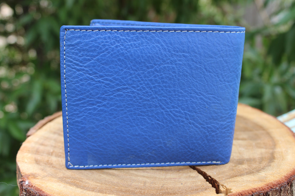 "Personalized Blue Handmade Large Trifold full grain Leather wallet for men ""Torino"" - United Split"