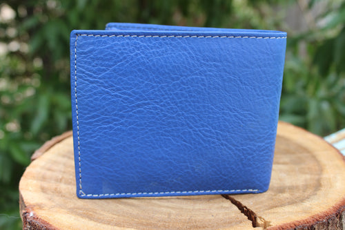 Personalized Blue Handmade Large Trifold full grain Leather wallet for men