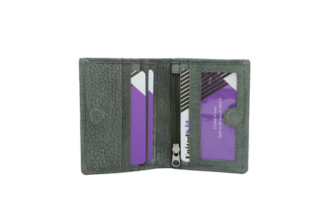 Mens Small & Slim Bifold Genuine Leather Wallet Magnet Gray 9640