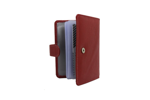 Mens Slim Genuine Leather ID Credit Card Holder Pocket Purse Case Wallet 40 Card Red 9642