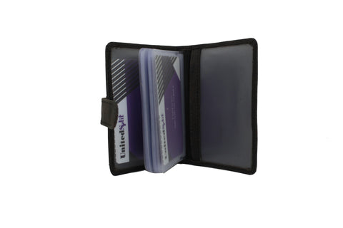 Mens Slim Genuine Leather ID Credit Card Holder Pocket Purse Case Wallet 40 Card Distress 9642