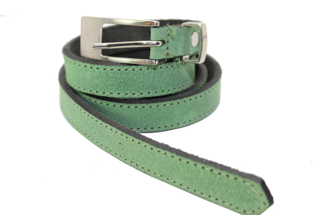 Women's Thin Belt Skinny Green Genuine Leather Belt Elegant Narrow Thick Belt 2417007