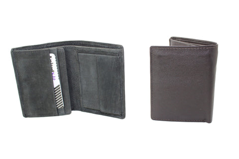 Men Small Slim Wallet Genuine Leather Trifold Black Brown Coins Snaps Zipper Man Credit Card ID Slot 9659