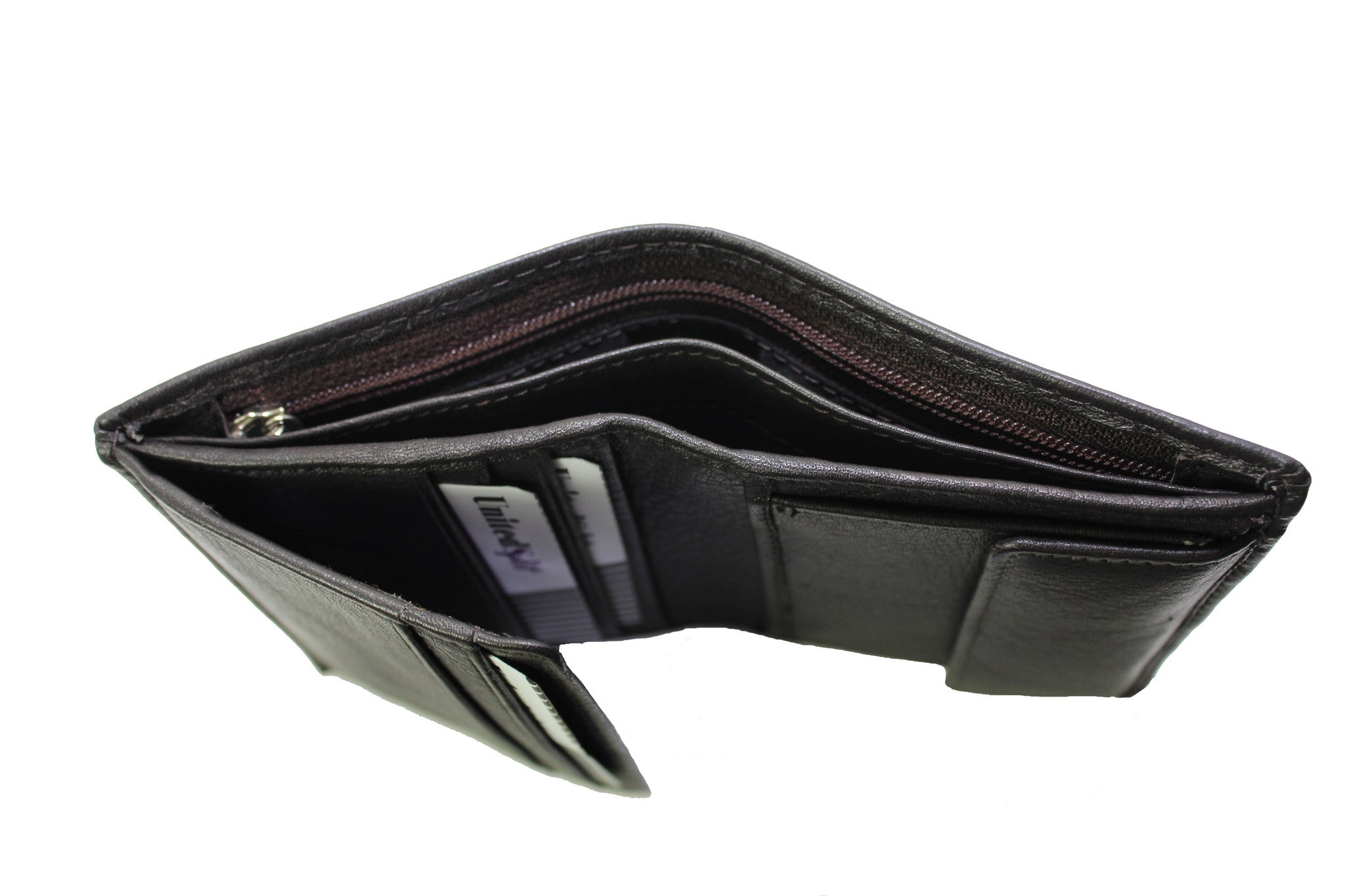 Men Small Slim Wallet Genuine Leather Trifold Black Brown Coins Snaps Zipper Man Credit Card ID Slot 9659 - United Split
