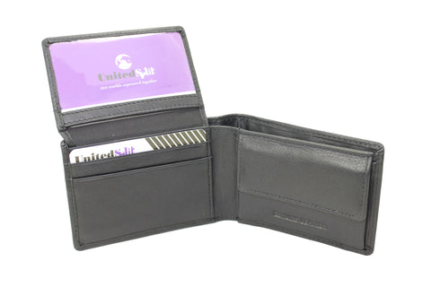Mens Small Thin Wallet Trifold Genuine Leather Coin Snap Black 9657