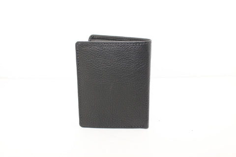 Men Small Slim Wallet Genuine Leather Trifold Black Coins Snaps Zipper Man Credit Card ID Slot Money Pocket 9644