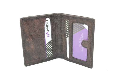 Mens Small Slim Genuine Leather Wallet Bifold Black Brown Magnet Men Purses Credit Card Passport Holder Non Coins 9648 - United Split