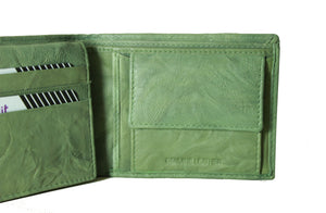 Personalized Green men's Small Slim Trifold Genuine Leather Wallet Coins Card Bill - United Split