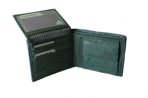 Personalized Grey men's Small Slim Trifold Genuine Leather Wallet Coins Card Bill - United Split
