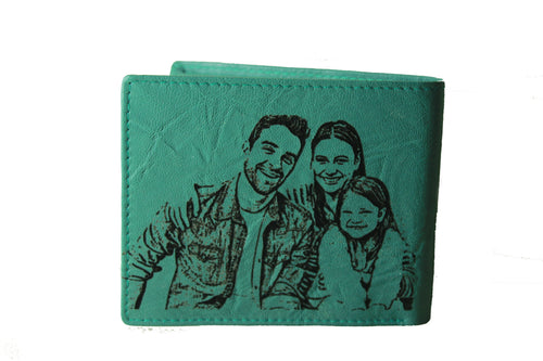 Personalized Turquoise men's Small Slim Trifold Genuine Leather Wallet Coins Card Bill - United Split