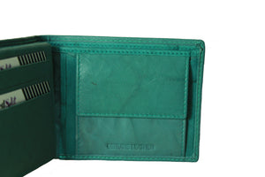Personalized Turquoise men's Small Slim Trifold Genuine Leather Wallet Coins Card Bill