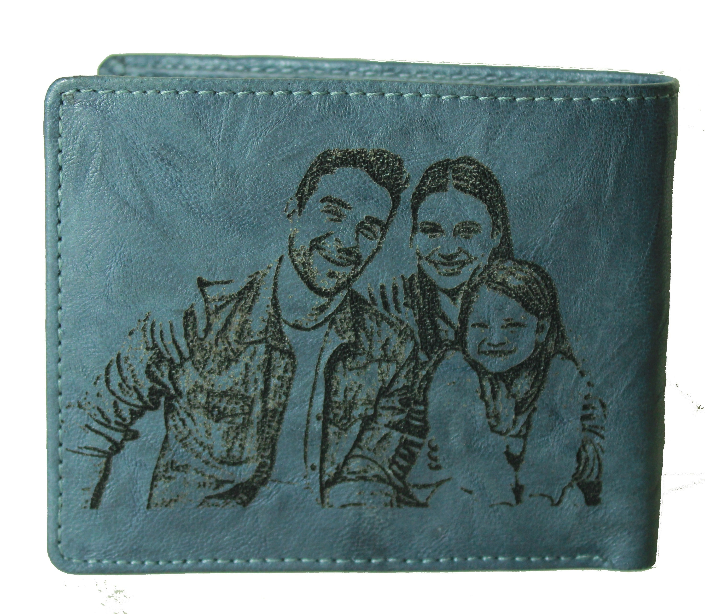 picture on wallet Personalized Dark Grey Trifold Leather Wallet Coins Card Bill