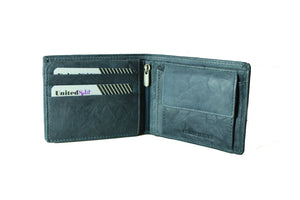 Personalized Dark Grey men's Small Slim Trifold Genuine Leather Wallet Coins Card Bill