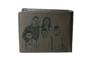 Personalized  Brown Men's Slim Bifold Genuine Leather Wallet Coins Card Bill - United Split
