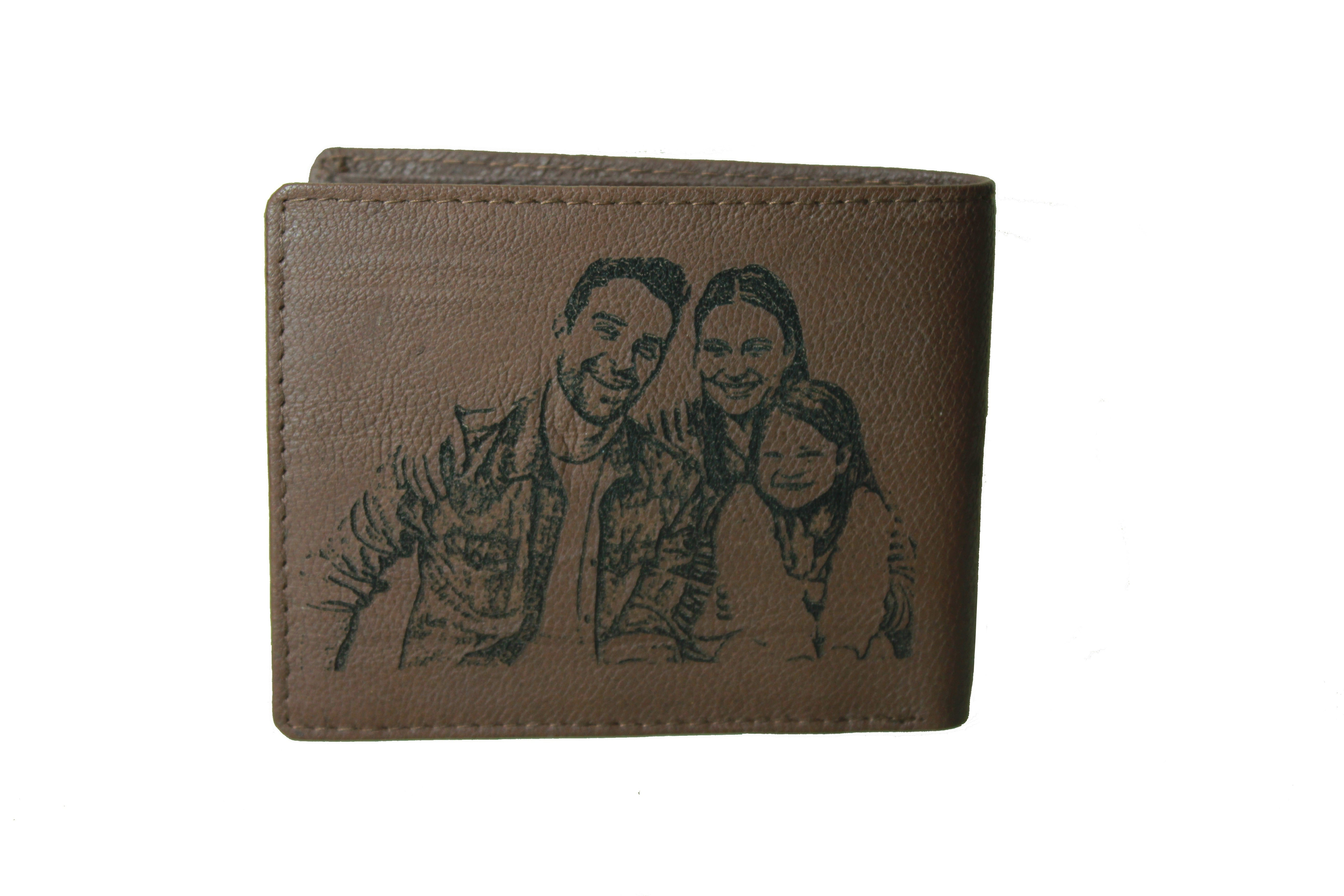 Personalized Brown men's Small Slim Trifold Genuine Leather Wallet Coins Card Bill - picture on wallet