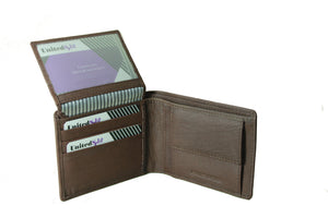 Personalized Brown men's Small Slim Trifold Genuine Leather Wallet Coins Card Bill