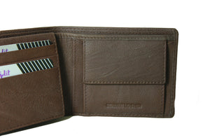 Personalized Brown men's Small Slim Trifold Genuine Leather Wallet Coins Card Bill - United Split