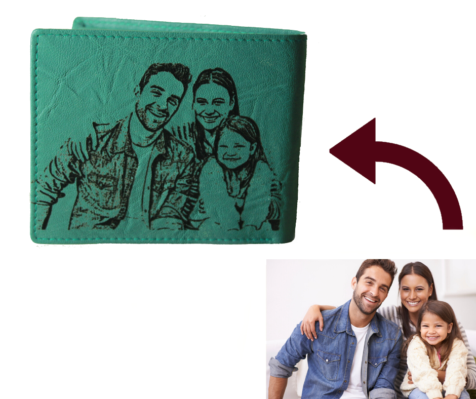 Personalized Turquoise men's Small Slim Trifold Genuine Leather Wallet Coins Card Bill picture on wallet