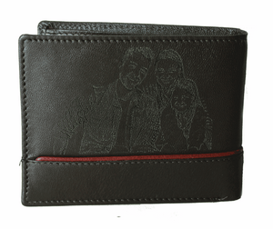 Personalized Dark Brown men's Small Slim Trifold Genuine Leather Wallet Coins Card Bill