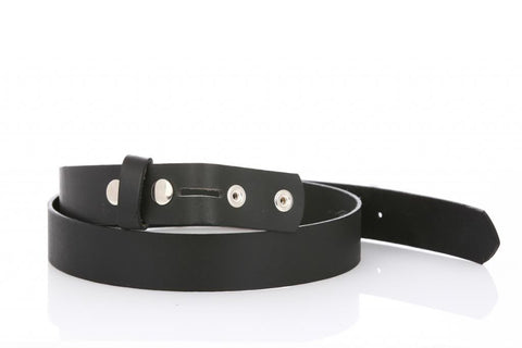 Mans Thin Black Leather Belt 6100