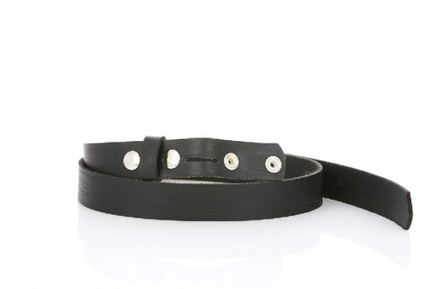 Thin Elegant Leather Black Belt 8101
