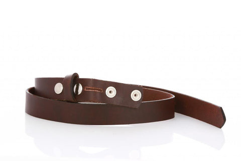 Thin Brown Leather Belt 9100