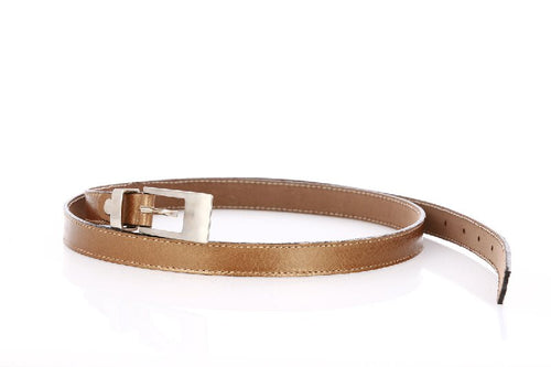 Woman Skinny Gold Leather Belt