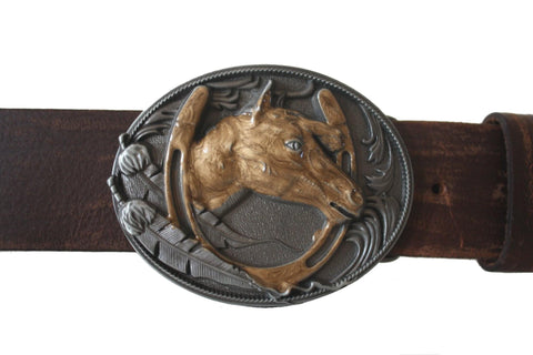 A Brown Westen Horse Belt Buckle