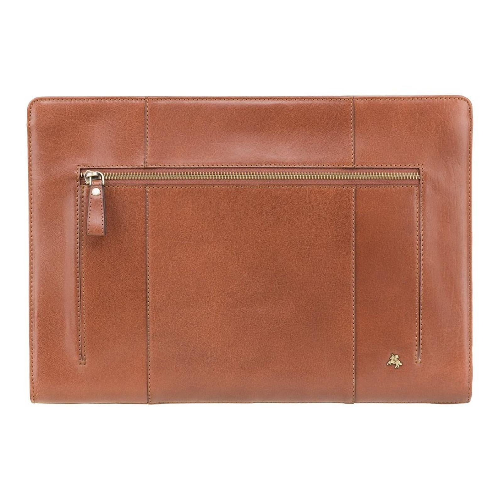 Document Holder - Hanz - Tan - Natural Full Grain Leather Under Arm Document Case A4 - Luxury Leather Case - ML26
