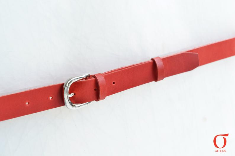 Red leather belt 1inch
