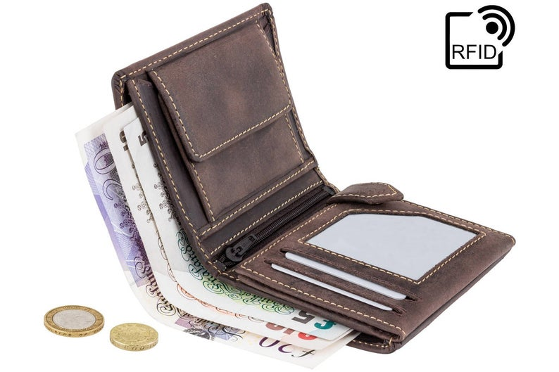 VISCONTI Leather Wallet - Oil BROWN - Hunters Collection - Small Expandable Wallet - 708 - Cash and Coin Holder - Card Case - Bi-Fold - RFID