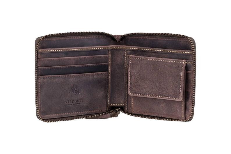 VISCONTI Leather Wallet - Oil BROWN - Hunters Collection - Zip Around Wallet - 702 - Cash and Coin Holder - Card Case - Bi-Fold - RFID