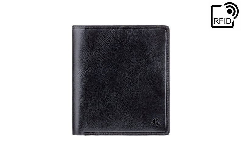 VISCONTI - Luxury Black Euro Leather Wallet with RFID Protection - Wallets for Men - Veg Tan Premium Leather - Handmade Wallets - TSC49
