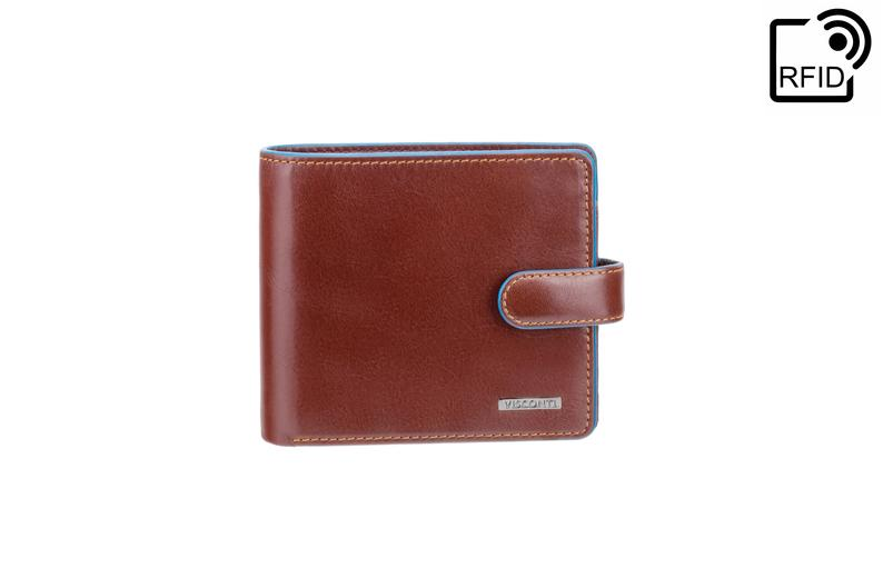 VISCONTI - Brown Wallet Leather RFID - ALP86 - Brown Blue Wallet - Card and Coin Wallet - Card Holder - Gift Boxed - Mens Wallet