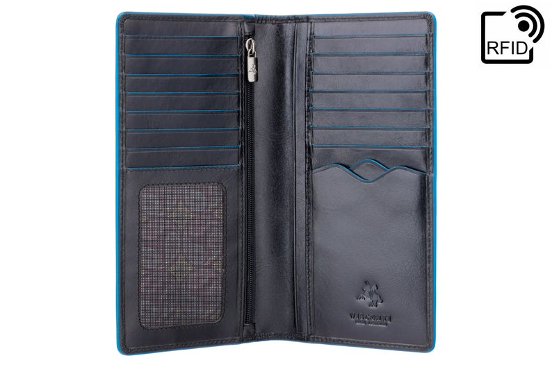VISCONTI - Black Long Wallet Leather RFID - ALP88 - Black Blue Wallet - Card and Coin Wallet - Card Holder - Jacket Wallet - Mens Wallet