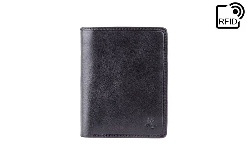VISCONTI - Luxury Black Leather Wallet with RFID Protection - Expandable Wallet - Wallets for Men - Veg Tan Premium Leather