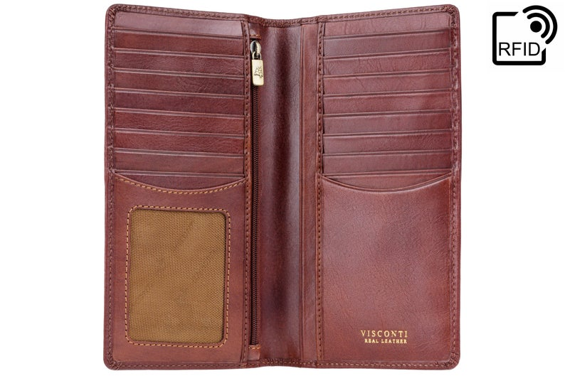 VISCONTI - Luxury Tan Long Leather Wallet with RFID Protection - Jacket Wallet - Wallets for Men - Veg Tan Premium Leather - Card Holder