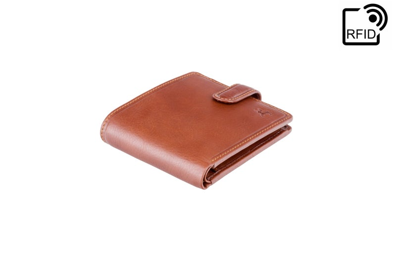 VISCONTI - Luxury Tan Button Close Slim Leather Wallet with RFID Protection - Slim Wallet - Wallets for Men - Veg Tan Premium Leather